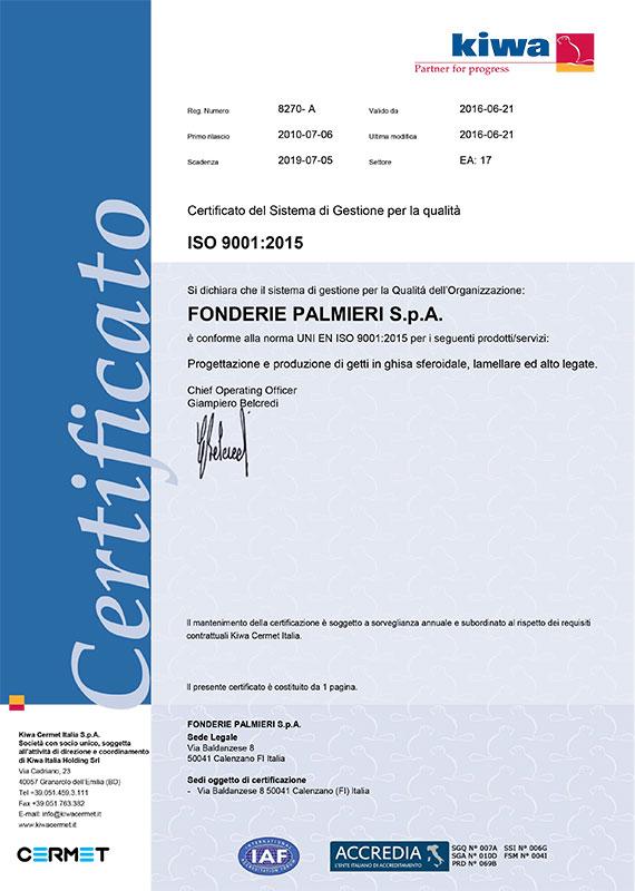 Certificato sistema gestione qualità ISO 9001:2015