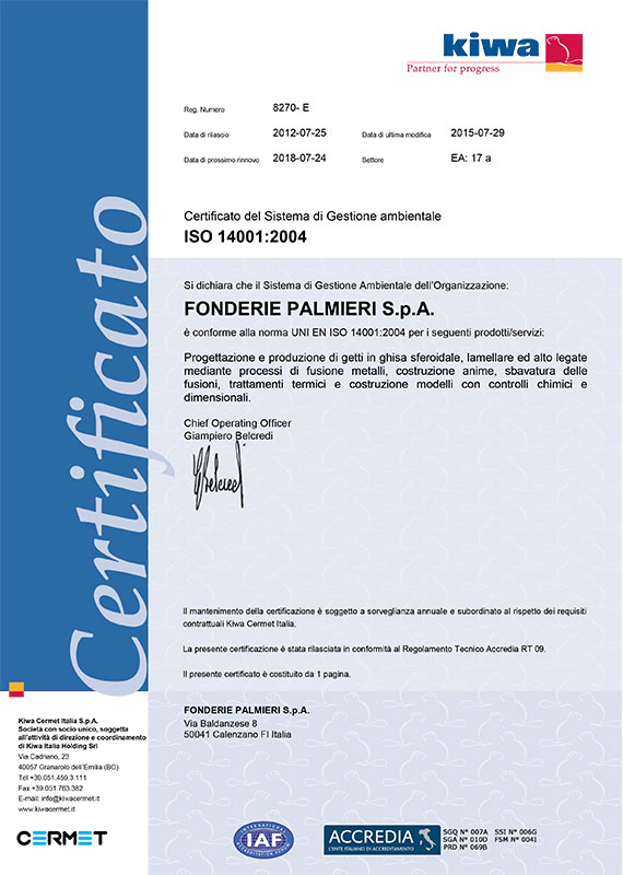Certificato sistema gestione ambientale ISO 14001:2004
