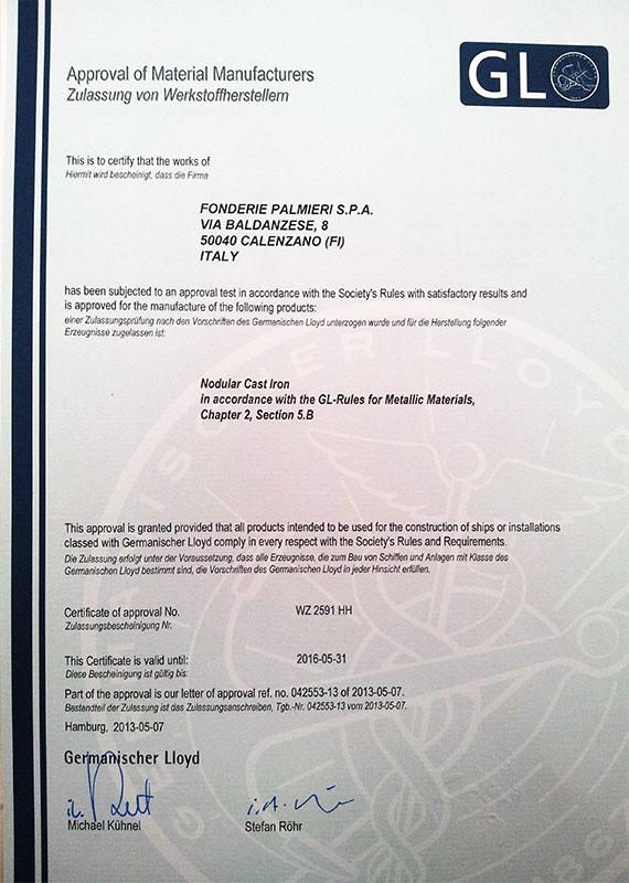 Certificato Germanischer Lloyd