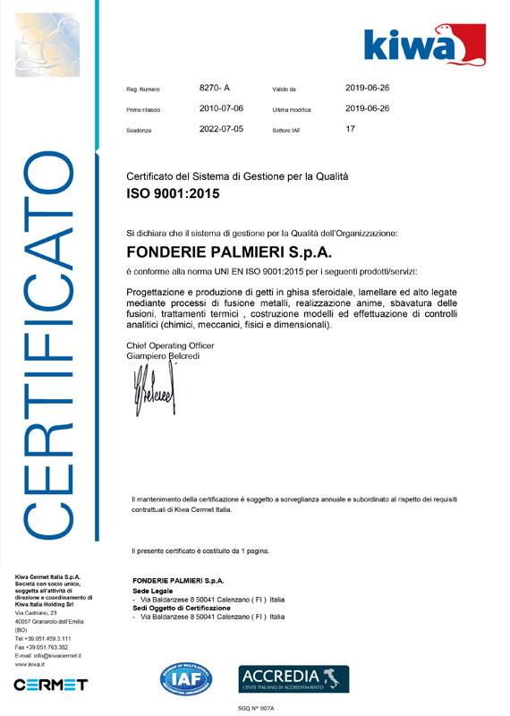 Certificazione Qualità ISO 9001 Fonderie Palmieri